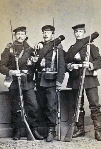 Germans with Dreyse rifles and socket bayonets