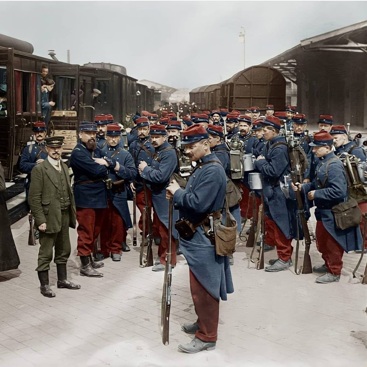 French Soldiers going for war WWI