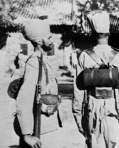 Hindu or Sikh soldier  in China with 1888 bayonet