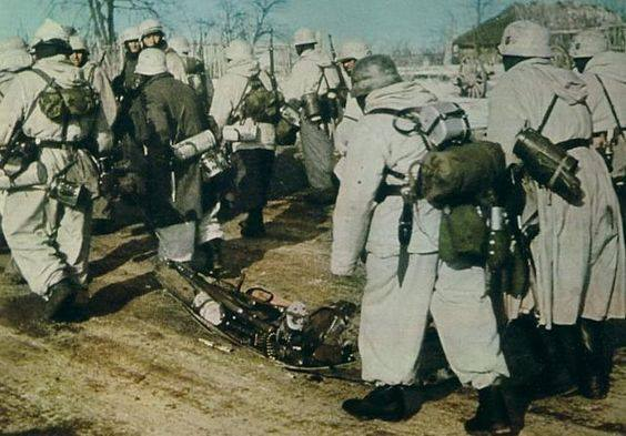 Germans on eastern front carry supplies